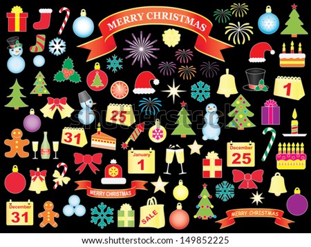 set of Christmas and New Year icons over black - stock vector