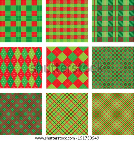 Set of Christmas and New Year plaid seamless patterns in red and green colors