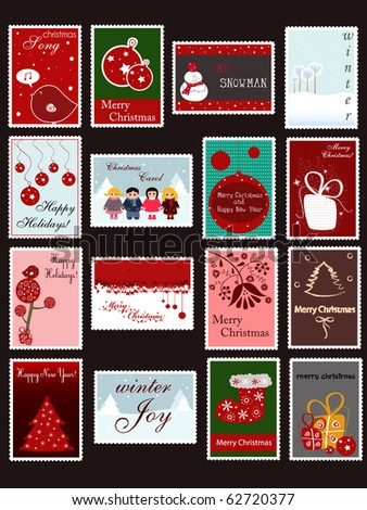 set of Christmas and New Year postage stamps - stock vector