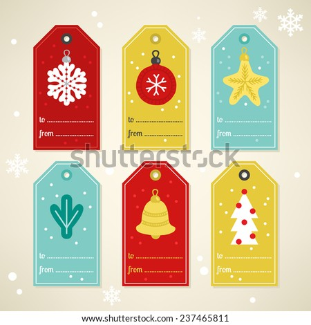 Set of Christmas and New Year's gift tags with Snowflake, Ball, Star, Fir Branch, Bell and Christmas Tree in Red, Dark Red, Gold and Turquoise. Perfect for holiday greetings, presents.  - stock vector