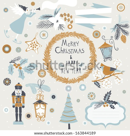 Set of Christmas and New Year's graphic elements - stock vector
