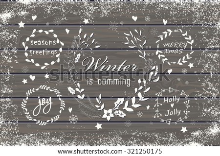 Set of Christmas and New Year's graphic elements. Hand drawn design for greeting cards, fabric, wrapping paper, invitation, stationery. Wood plank vector background is in the separate layer. - stock vector