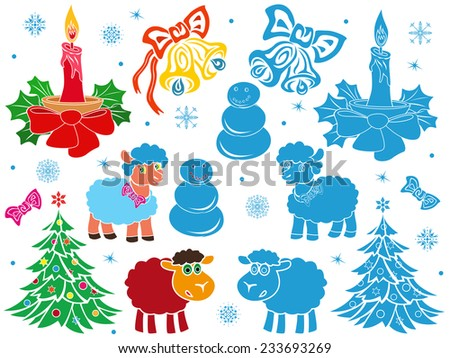 Set of Christmas and New Year vector stencils in colorful and monochrome blue performing - stock vector