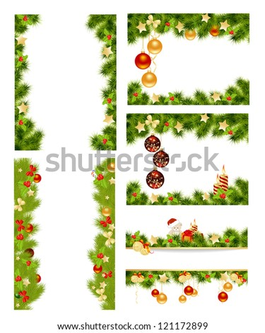 Set of christmas background with toys. Vector illustration. - stock vector