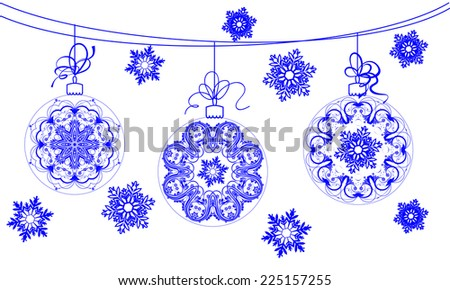 Set of Christmas balls, abstract elements for Christmas design - stock vector