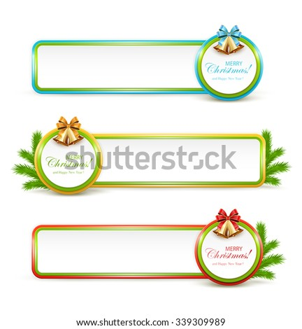 Set of Christmas banners with golden bells and fir tree branches, illustration. - stock vector