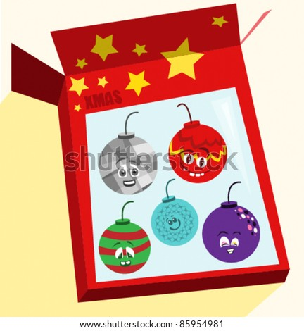 Set of christmas bauble characters - stock vector
