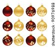 Set of christmas baubles. Vector illustration. - stock vector