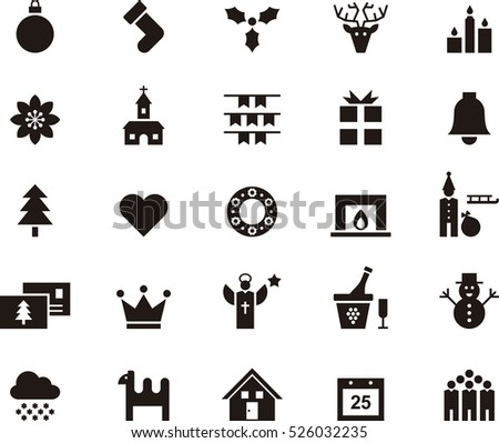 set of CHRISTMAS black icons