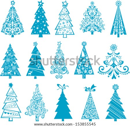 set of christmas blue trees isolated on White background. Vector illustration  - stock vector