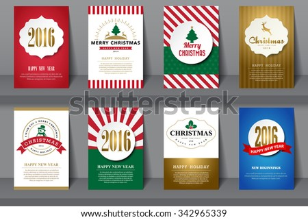 Set of  Christmas brochures in vintage style  - stock vector