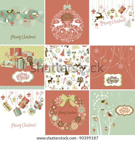 Set of Christmas Cards - stock vector