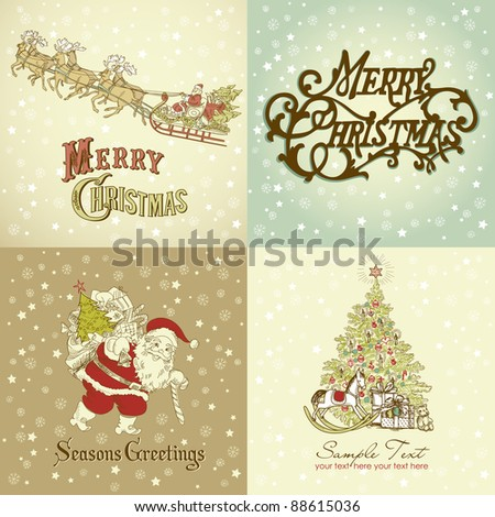 Set of Christmas Cards in vintage style - stock vector