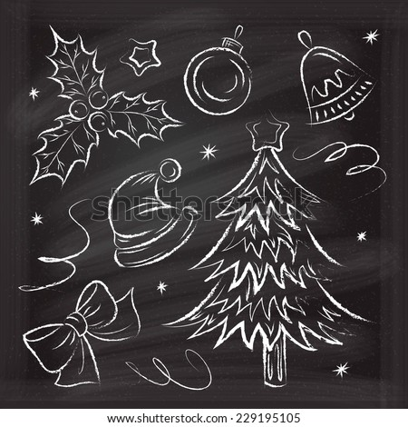 Set of Christmas chalk hand-drawn icons, elements and illustrations - stock vector