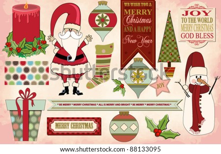Set of Christmas Clip Art Images and Banners, with Christmas Pattern and Vintage Christmas Background: Santa Claus, Snowman, Christmas Tree, Ornaments, Holly, Christmas Gift, Candle, Stocking, Labels - stock vector