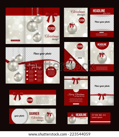 Set of Christmas corporate business stationery templates. Abstract brochure design with photorealistic xmas balls and blurred bokeh lights. Modern back and front flyer backgrounds. Vector illustration - stock vector