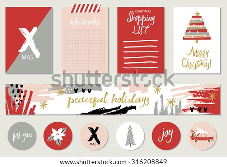 Set of 4 Christmas creative journaling cards, banner, stickers and tags. Vector illustration. Template for Greeting Scrapbooking, Congratulations, Invitations, wishes. - stock vector