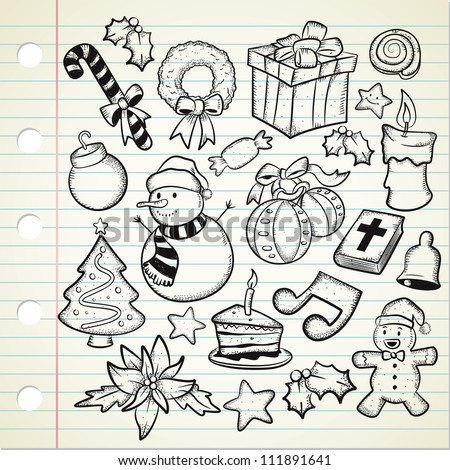 set of Christmas decoration in doodle style - stock vector