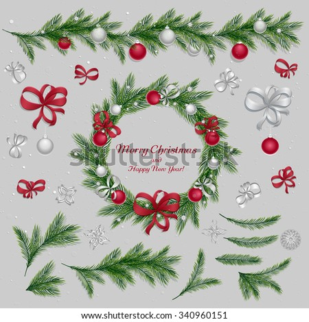 Set of christmas decorations: balls, ribbons, stars and abstract elements. Christmas wreath. Christmas pine twigs and spruce branches. Christmas border. Red and silver colors. Vector, EPS 10. - stock vector