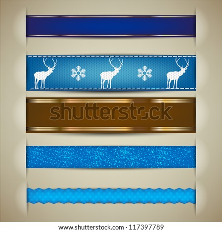 Set of Christmas decorative ribbons, bookmarks, banners. Vector illustration - stock vector