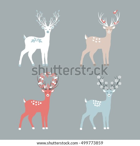 Set of Christmas Deer for your Christmas design. Vector illustration.
