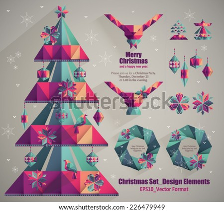 Set of christmas design decorative elements - stock vector