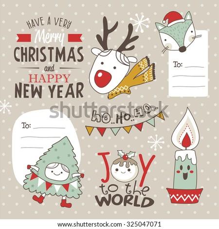 Set of Christmas design elements - stock vector