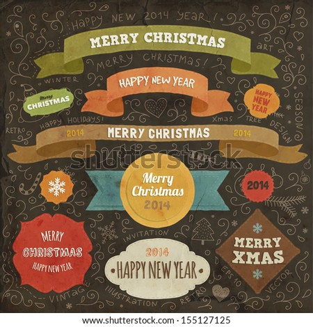 Set of Christmas design elements for Xmas art - stock vector