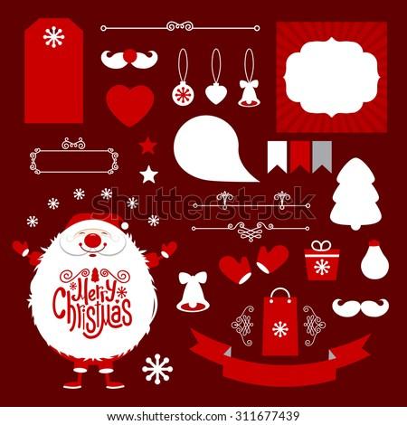 Set of Christmas design elements. Vector illustration - stock vector