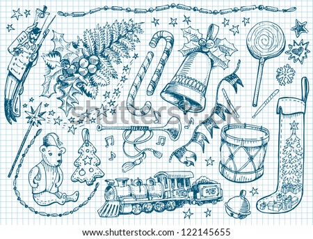 Set of Christmas doodles - stock vector