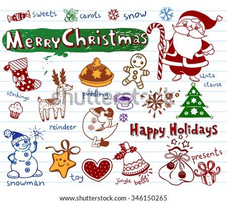 Set of Christmas doodles, vector illustration  - stock vector