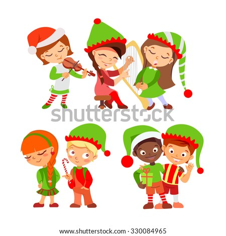 Set of Christmas elves from Santa team singing,playing music,holding gifts. Christmas elves icon set. Vector illustration isolated on white background