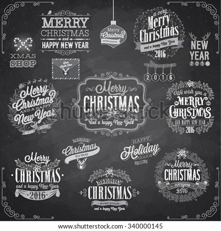 Set of Christmas emblems - Chalkboard. - stock vector