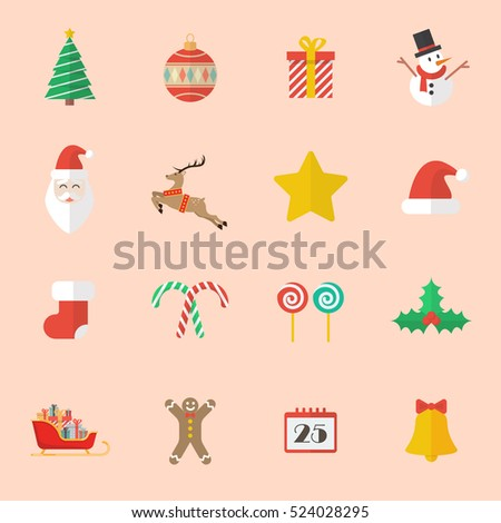 Set of Christmas Flat Icon. Vector Illustration