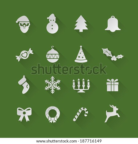 Set of Christmas flat Icons with long shadow - stock vector