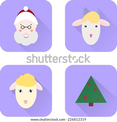 Set of Christmas flat icons with Santa Claus, sheep, goat, and a Christmas tree
