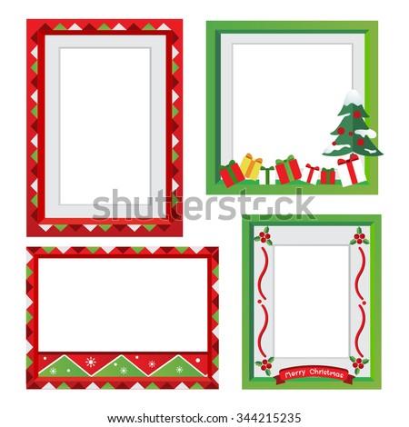 Set of Christmas frames,vector christmas border, christmas frame picture - stock vector