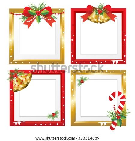 Set of Christmas frames,vector christmas border, christmas frame picture, christmas decoration - stock vector