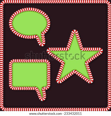 Set of Christmas frames with candy - stock vector