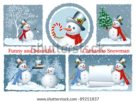 Set of Christmas frames with copy space. Funny Snowman. vector illustration - stock vector