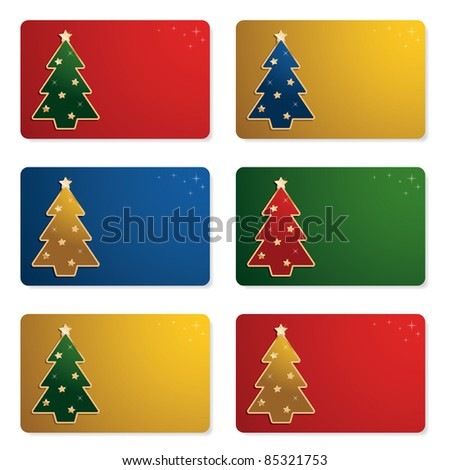 set of christmas gift cards isolated on white