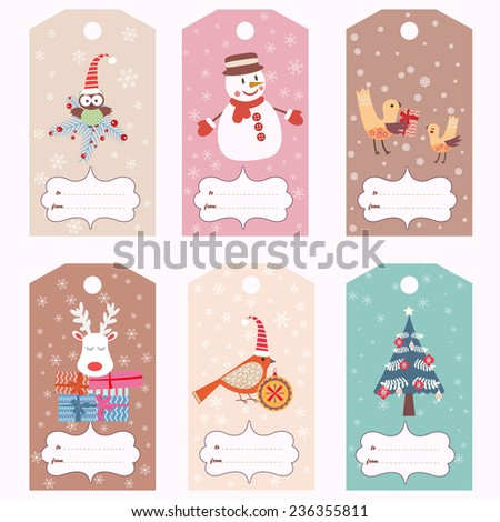 Set of Christmas gift tags (vector template)