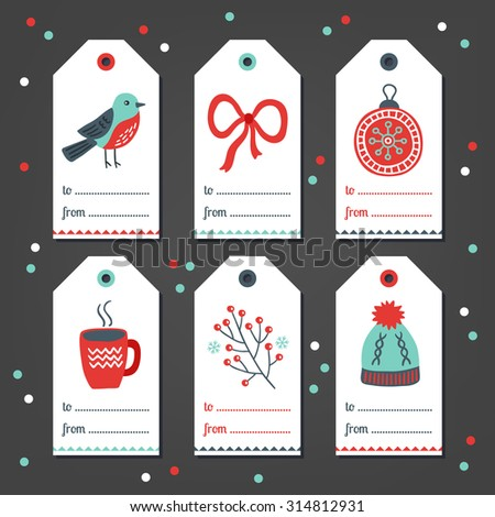 Set of Christmas Gift Tags with bird, bow, ball, cup of tea, branch and hat in Cyan, Red and White. Perfect for holiday greetings - stock vector