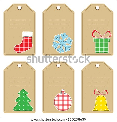Set of Christmas gift tags with stitched decorations - stock vector