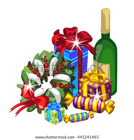 Set of Christmas gifts and bottle of wine isolated on white background. Vector illustration.