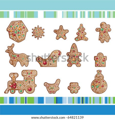 set of Christmas gingerbread cookies  with ornamental - stock vector