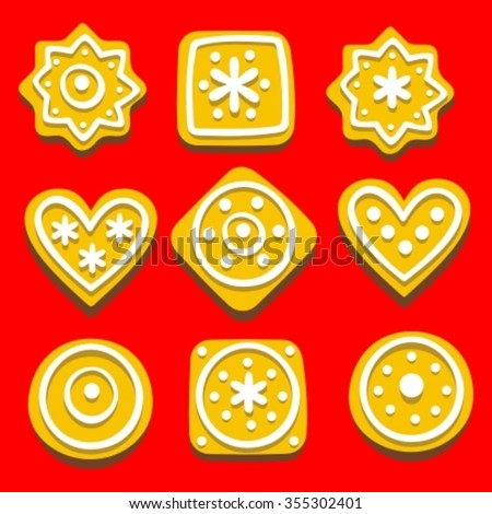 set of christmas gingerbread icon,  vector illustration.