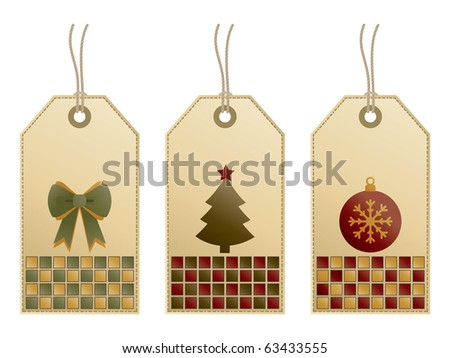 set of christmas gradient gift tags with motifs isolated on white - stock vector
