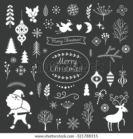 Set of Christmas graphic elements on a black background, collection design elements, vector images - stock vector
