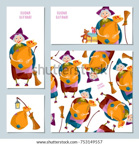 Set 4 christmas greeting cards befana stock photo photo vector set of 4 christmas greeting cards with befana italian christmas tradition vector illustration m4hsunfo